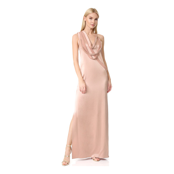 HALSTON sleeveless slip gown with draped strips - NOTE: Runs true to size. Draped straps bring avant-garde...