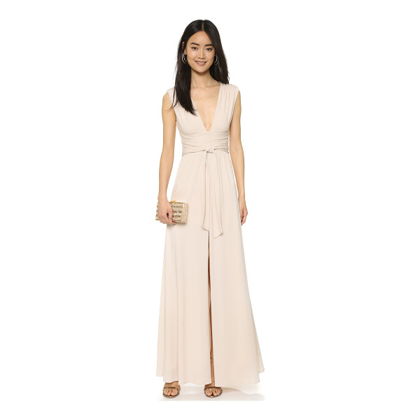 HALSTON v neck jersey gown with wrap tie - Crisscross panels and a tie sash nip the waist of this...
