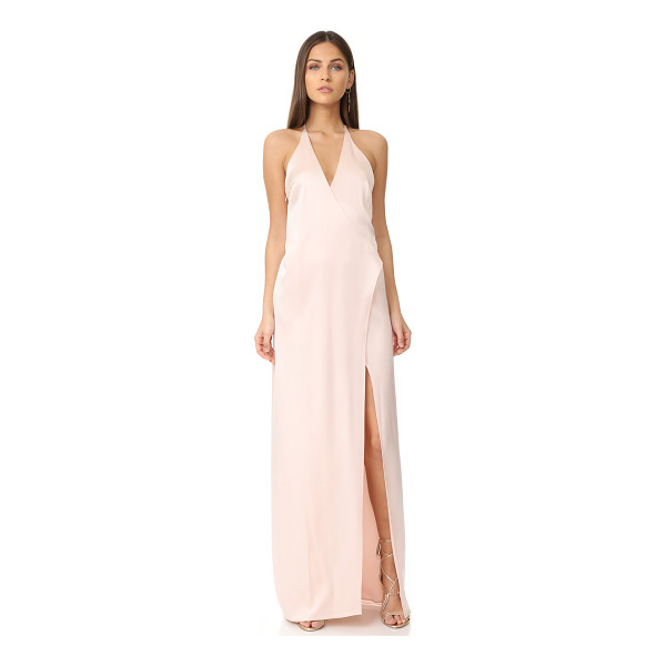 HALSTON v neck slip gown with t back - Description NOTE: Runs large. Please see Size & Fit tab. A...