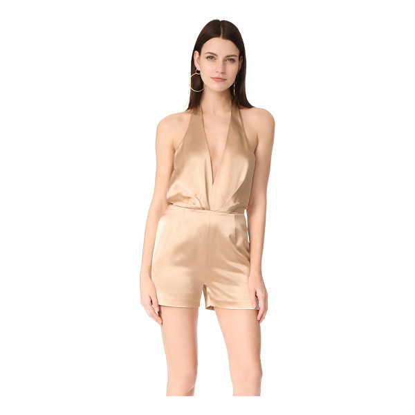 HANEY delphine romper - A plunging neckline brings flirty style to this lustrous...