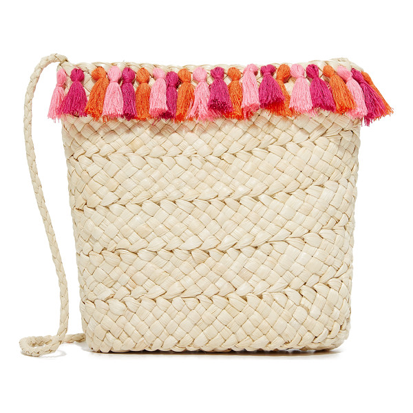 HAT ATTACK festival cross body bag - Vibrant tassels trim this woven straw Hat Attack cross-body