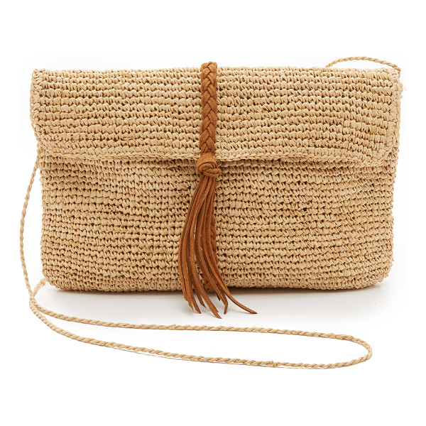 HAT ATTACK raffia clutch with braid - A slouchy Hat Attack clutch in woven straw, detailed