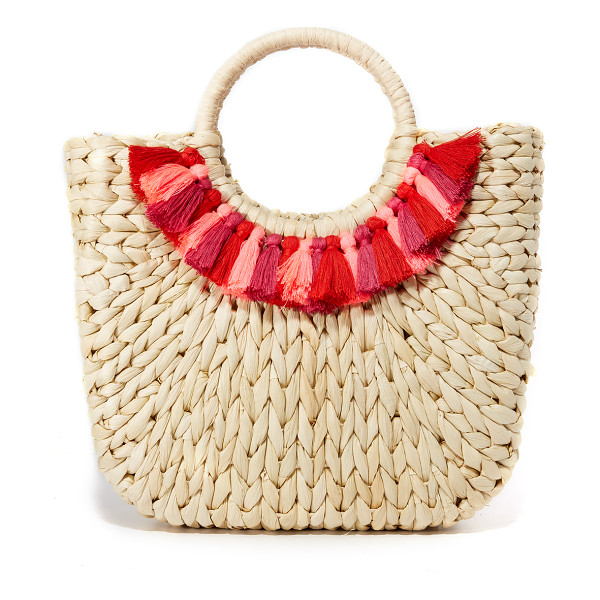 HAT ATTACK small round handle tote - Colorful tassels add a splash of color to this scaled-down...