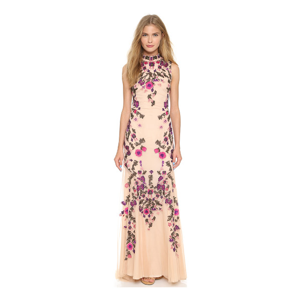 HAUTE HIPPIE Mesh threadwork beaded gown - Jewel tone embroidery and small beads form an elegant...