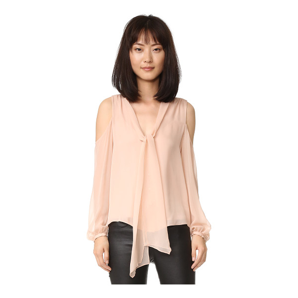 HAUTE HIPPIE vida cold shoulder top - A delicate Haute Hippie blouse with loose ties at the deep...