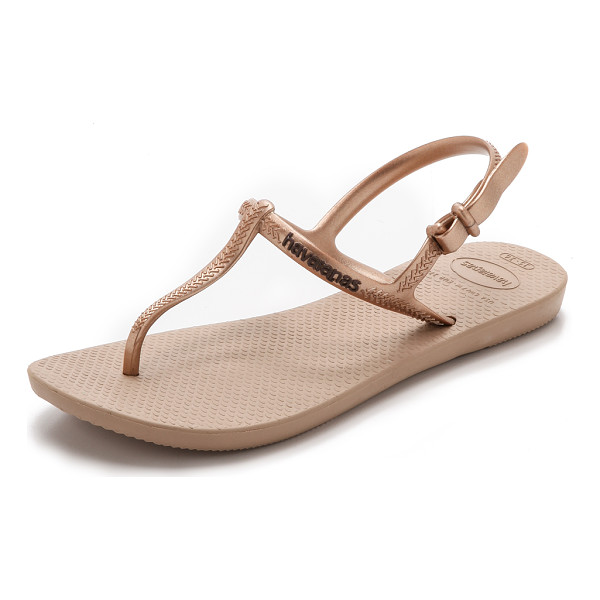 HAVAIANAS Freedom t-strap sandals - A metallic rubber T strap and buckled ankle give these...