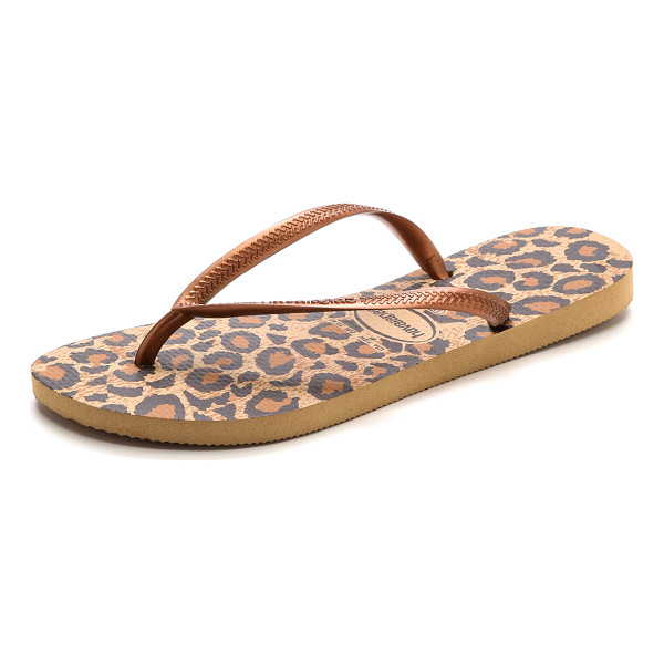 HAVAIANAS Slim animals flip flop - A leopard print footbed adds a graphic pop to metallic...