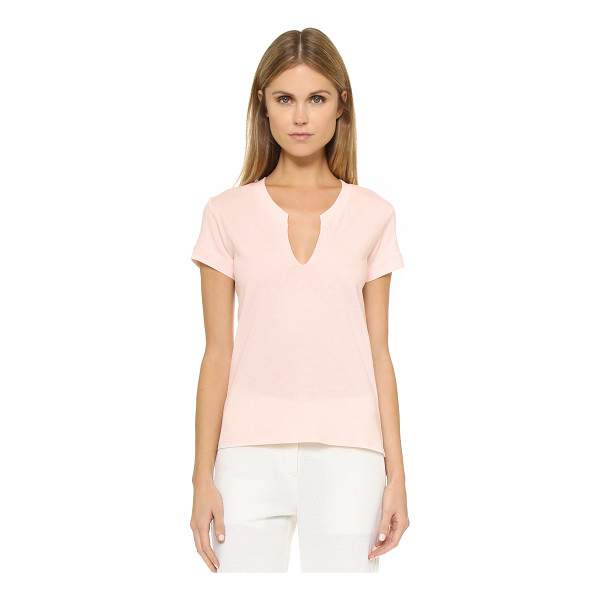 HELMUT LANG Rippled v neck tee - A casual Helmut Lang tee, updated with a notched, uneven...
