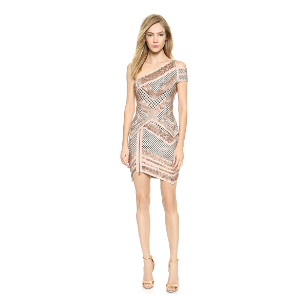 HERVE LEGER Abbie one shoulder dress - Shimmering, copper tone beading and lattice patterns lend a...