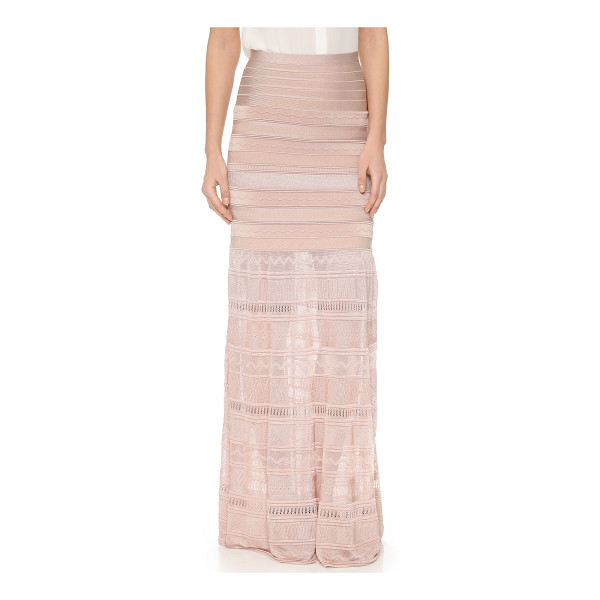 HERVE LEGER Abellona maxi skirt - A sheer, slinky panel lends dramatic movement to this...