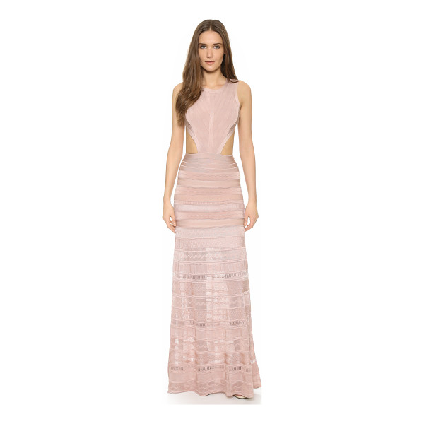 HERVE LEGER Alondra sleeveless gown - A sheer, slinky panel lends dramatic movement to this...