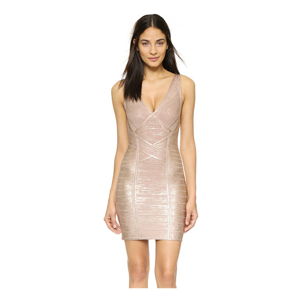 HERVE LEGER Briar foiled bandage dress - A shimmering foiled finish accentuates the sleek silhouette...
