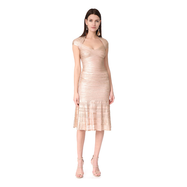 HERVE LEGER emilia gown - A striking Herve Leger dress with a soft metallic finish....