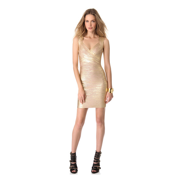 HERVE LEGER iman dress - Brushed metallic coating brings seductive shine to a...
