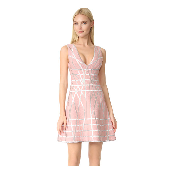 HERVE LEGER jasmine flare dress - Shimmering raised banding brings unique style to this luxe,...