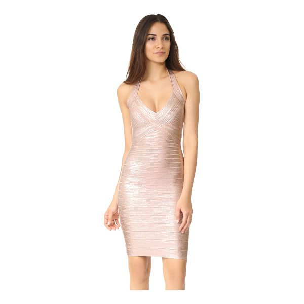 HERVE LEGER jessilyn halter dress - A waxed metallic coating accentuates the glamorous look of...