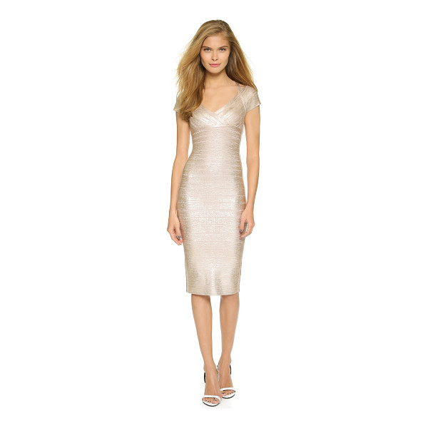 HERVE LEGER Kelis dress - A shimmering metallic coating adds a layer of glamour to...