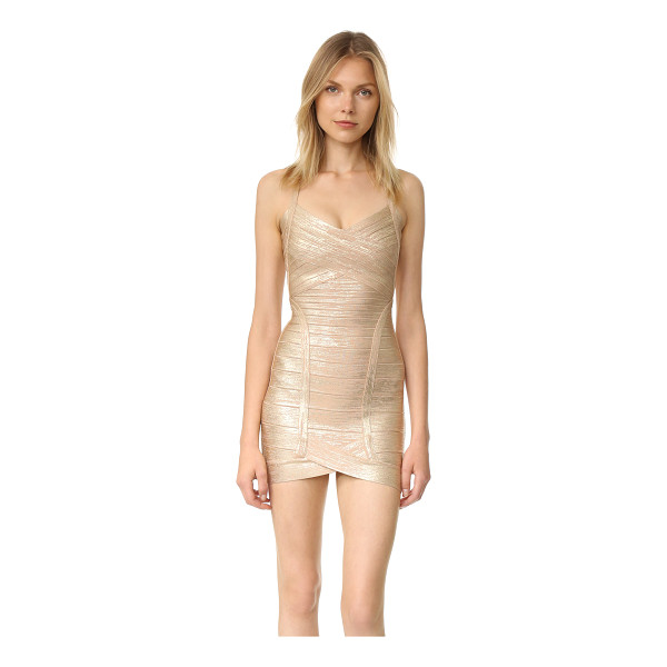 HERVE LEGER kourtney mid thigh dress - Brushed metallic coating brings seductive shine to a...