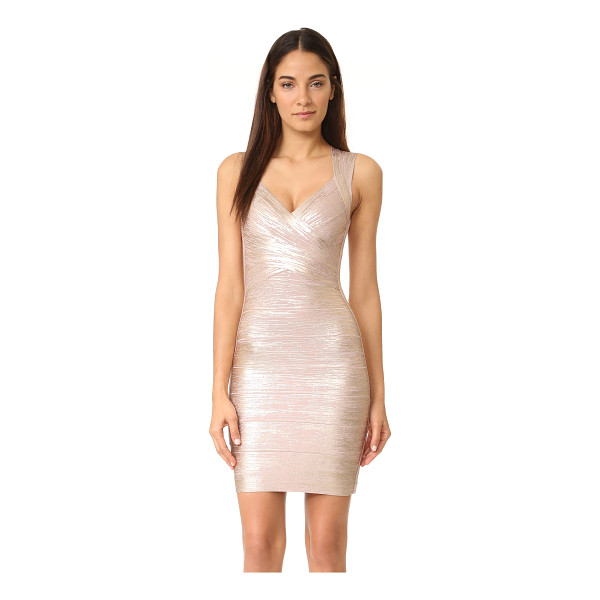 "HERVE LEGER Metallic v-neck dress - ""This banded, formfitting dress features metallic foil..."