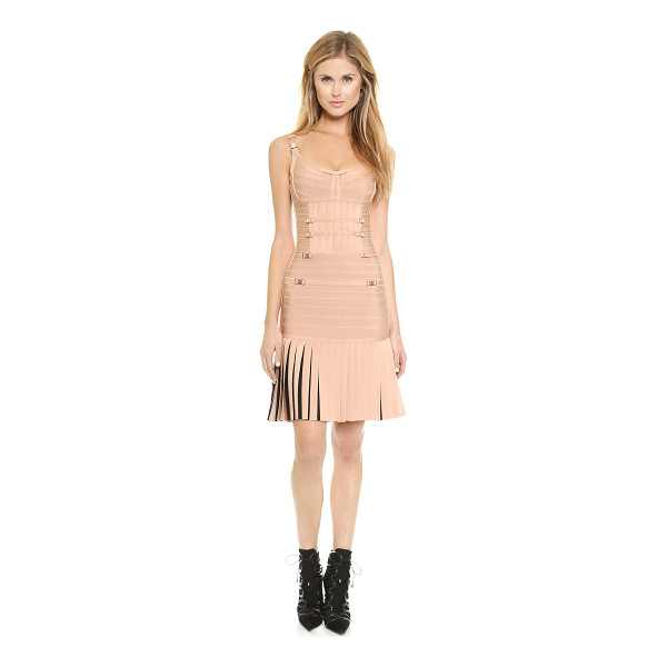 HERVE LEGER Milena dress - Logo embossed, rose gold tone hardware lends a luxe,...