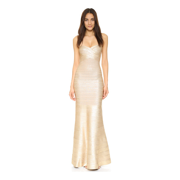 HERVE LEGER Sara Gown - A glamorous foil finish updates this sleek, shimmering...