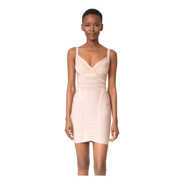 HERVE LEGER sleeveless dress - This sleek Herve Leger bandage dress is updated with sheer...