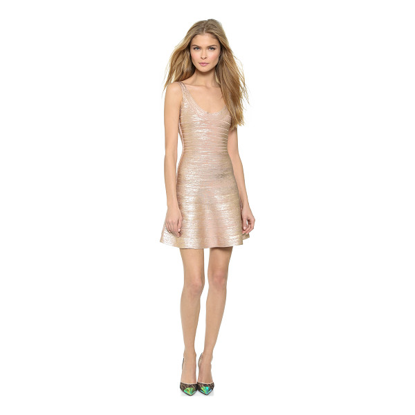 HERVE LEGER sleeveless dress - Lustrous metallic coating lends dimension to a classic...