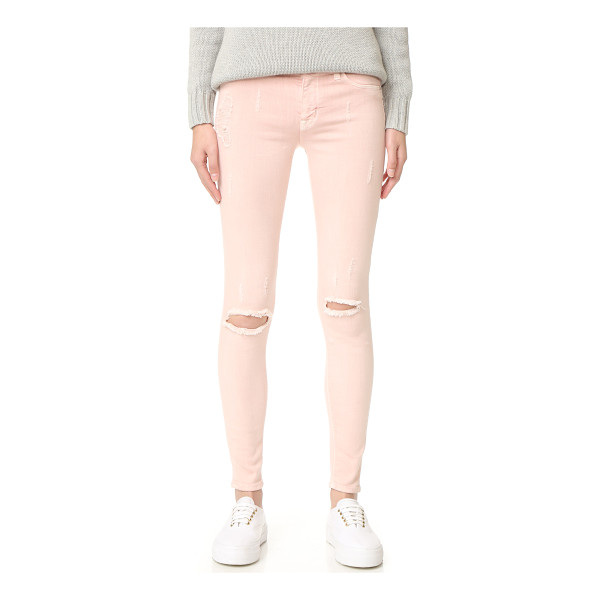 HUDSON nico mid rise super skinny jeans - Shredded spots and light fading give these Hudson skinny...