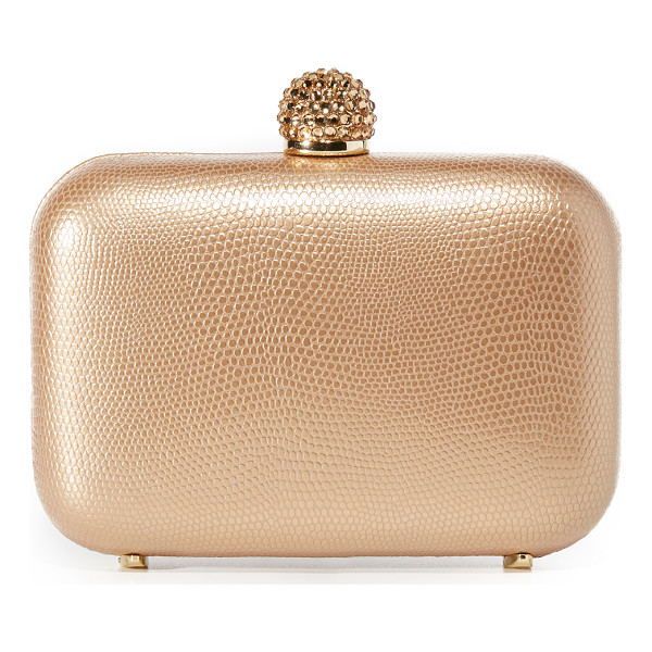 INGE CHRISTOPHER fiona leather clutch - A hardshell Inge Christopher clutch in lizard-embossed...