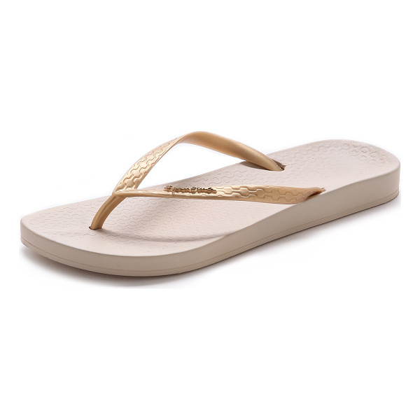 IPANEMA Ana tan flip flops - A light metallic wash adds subtle shimmer to rubber Ipanema...