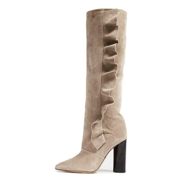 IRO cidravol boots - A ruffle traces the side of the slouchy shaft on these...