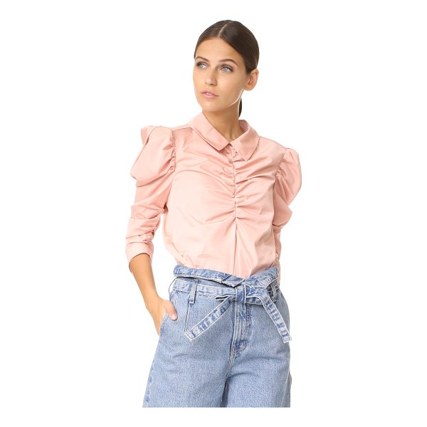 ISA ARFEN gathered puff sleeve shirt - NOTE: Sizes listed are UK/Australian. Crisp cotton poplin...