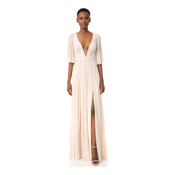 J. MENDEL deep v neck pleated gown - Dense pleating brings striking volume to this elegant J....