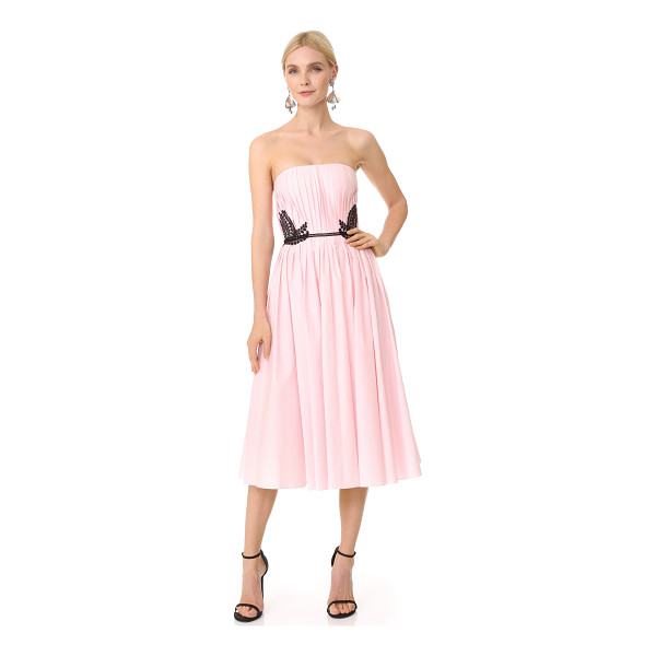 J. MENDEL strapless dress - Knife pleats accentuate the swingy shape of this crisp...