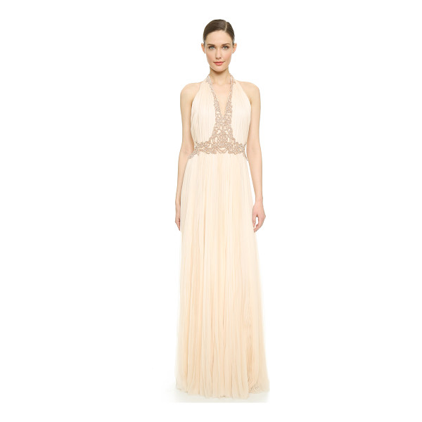 J. MENDEL V neck pleated gown - This elegant J. Mendel gown is crafted in breezy, artisan...
