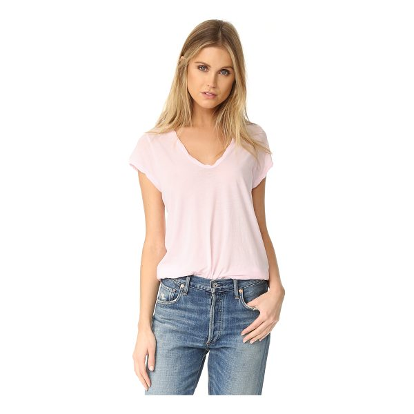 JAMES PERSE high gauge jersey deep v tee - Twisted banding trims the scoop neckline and edges of this...