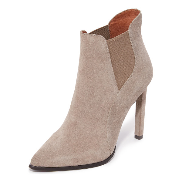 JEFFREY CAMPBELL Jeffrey Campbell Valinor Booties - Sculpted suede panels compose these pointed toe Jeffrey