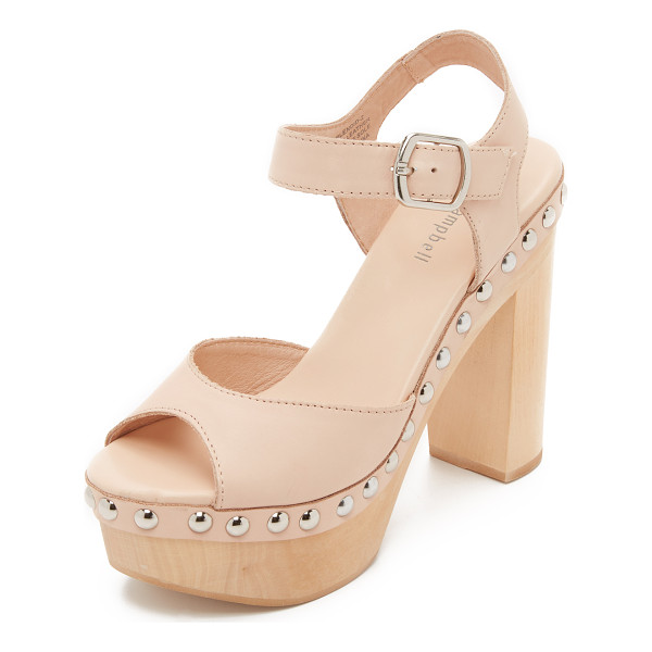 JEFFREY CAMPBELL splendid sandals - Polished studs trim the wooden platform on these smooth...