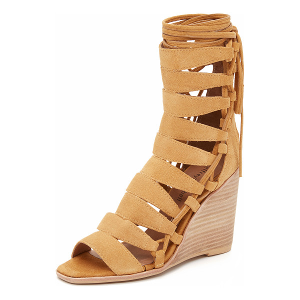 JEFFREY CAMPBELL Zaferia wedge sandals - Laces detail the sides of these suede Jeffrey Campbell