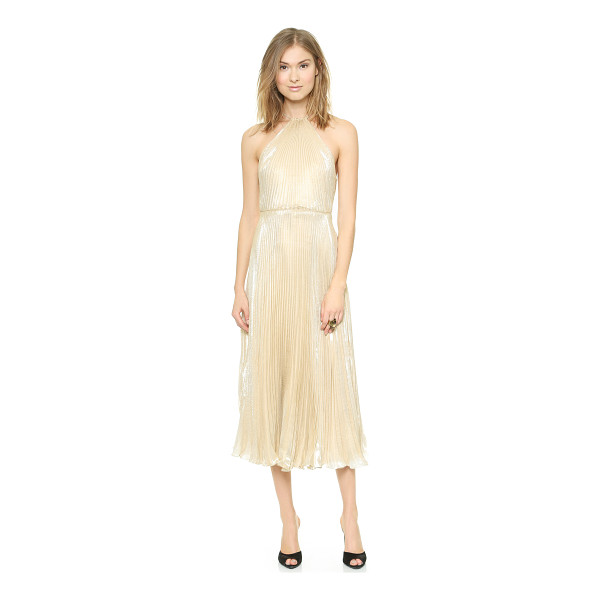 JILL JILL STUART Gold halter gown - Crisp pleats and patterned lamé create an optical effect on...