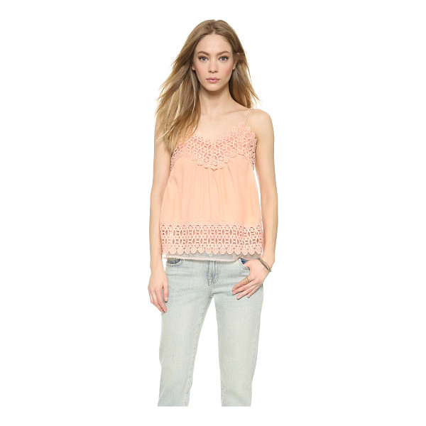 J.O.A. Contrast blouse - Embroidered panels lend sweet texture to this relaxed...