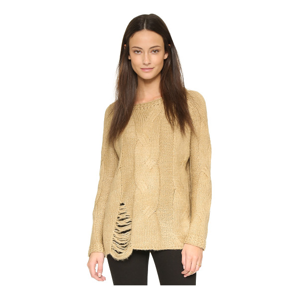 J.O.A. Distressed cable sweater - A boxy J.O.A. sweater with oversized cables and a shredded...