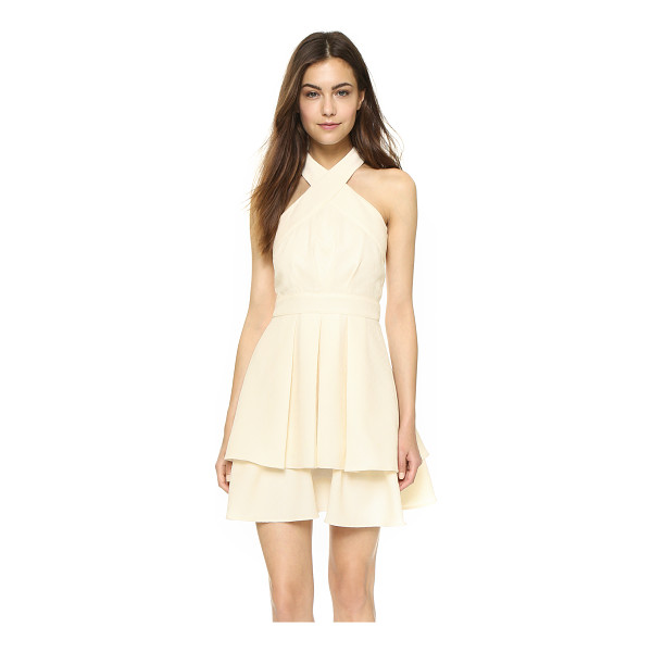 J.O.A. Halter neck dress - Crisp pleats texture the double layered skirt of this...