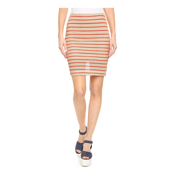J.O.A. Stripe knit skirt - Open stitching and bright printed stripes lend rich texture...