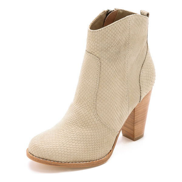 JOIE Dalton booties - Laser cut scales bring rich texture to these versatile...