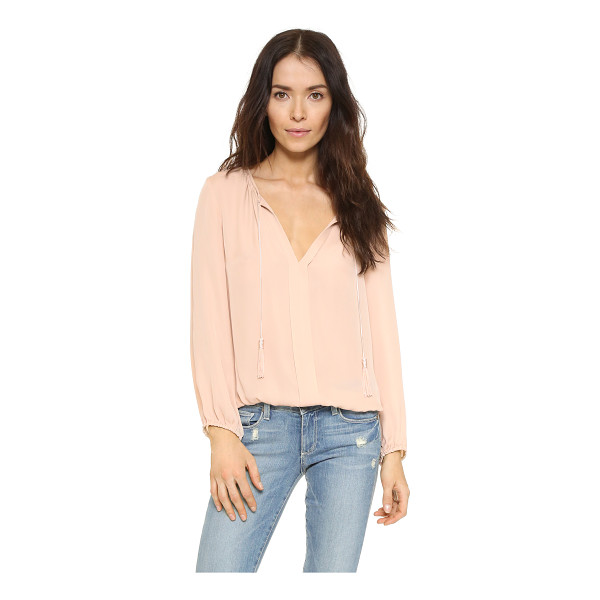 JOIE Jacinta blouse - A silk crepe Joie blouse with long, tasseled drawstrings at...