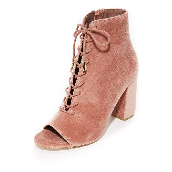 JOIE lakia peep toe booties - Pretty pastel Joie peep-toe booties in luxe velvet. Lace-up...