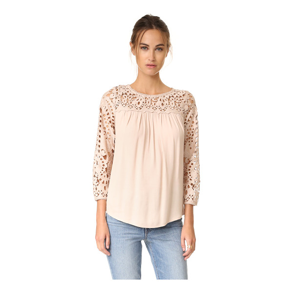 JOIE lindy blouse - Tonal lace composes the yoke and long sleeves of this...