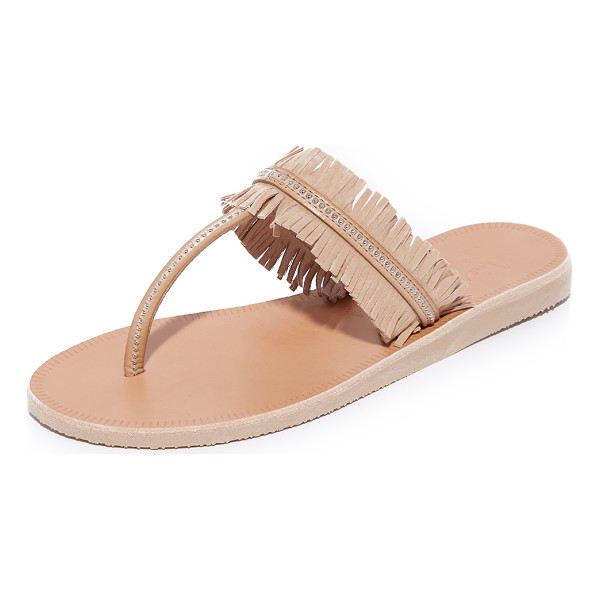 JOIE Maise thong sandals - Petite, polished studs accent these fringed suede Joie...