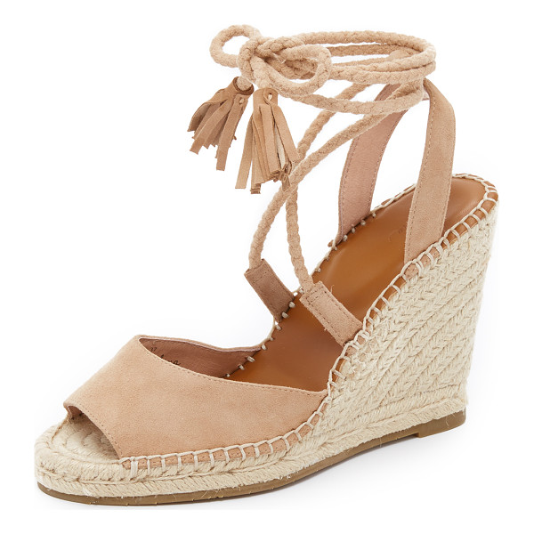JOIE Phyllis wedge sandals - Tassels finish the braided ties on these luxe suede Joie...